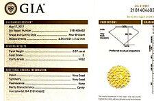 GIA certified .37ct VVS2 E pear shape diamond vintage estate antique
