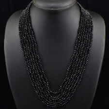 260.00 Cts Natural 7 Strand Black Spinel Round Cut Beads Necklace NK 37E183