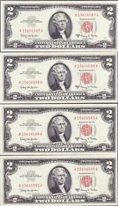 4 Consecutive 1963A $2 RED SEAL UNITED STATES NOTES - GEM CU