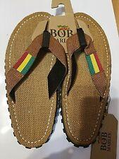 Size 9 Bob Marley Tan Rasta Mens Sandals NWT Burlap Footbed