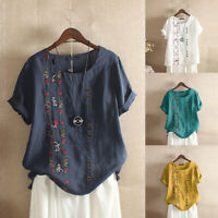 ZANZEA 10-24 Women Short Sleeve Embroidered Floral Blouse Tee T-Shirt Ladies Top