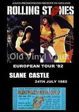 Rolling Stones Concert Poster + Ticket Slane Castle Ireland 1982  A3 Repro..