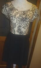 DOROTHY PERKINS BLACK/WHITE PRINT CAP SLEEVE TOP+BLACK FULL SKIRT DRESS 16/18/20