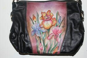 BEAUTIFUL Colorful Hand painted Leather Anushka handbag - Iris