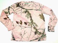 Realtree APC Womens SZ M Pink Camo Timber Crew Neck Top Long Sleeve Base Layer
