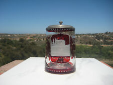 ANTIQUE BOHEMIAN RUBY  ETCHED  GLASS LIDDED STEIN GERMANY 0.5L  c.1900