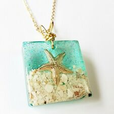 Necklace Handmade Resin Starfish Beach Clear Ocean Pendant Green Goldfilled
