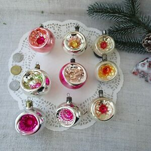Vintage Christmas Glass Ornaments Indent REFLECTOR Balls Xmas 50s #303