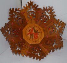 Vintage Dutch Carved Wood Ribbon Tramp Art Lattice Bowl Basket