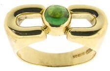 Anello d'oro donna 18 KT 18 KT Giallo Tsavorite SOLITARIO Cabochon Granato Verde