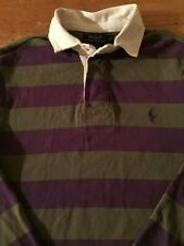 Polo Ralph Lauren Striped Rugby Long Sleeve Shirt Mens Sz Small Purple Gray B51