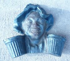 Cast Iron Black Americana Match Holder boy with hat dual match holder areas