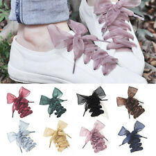 13 Color Shoelaces Flat Silk Satin Ribbon Sneakers Sport Shoes Laces Shoestrings