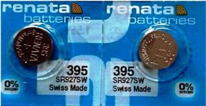 Battery 395 Watch Silver Oxide 1.55V 399 SR927SW AG7 SR57 Button Cell Renata 2x