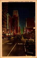 Postcard Theatrical District at Night Houston Texas Metropolitan Loew's