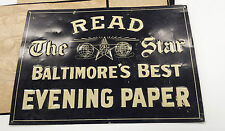 Read the Star Baltimore's Best evening paper embossed tin sign newspaper vintage