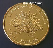 2001 - $1 Coin , Centenary of the Australian Army One Dollar S Sydney Mintmark