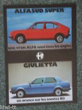 ALFA ROMEO ALFASUD SUPER + GIULIETTA visualizzazione pubblicitario/Advert, CH, 1979