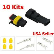 10 Kit 2 Pin Way Waterproof Electrical Wire Connector Plug Terminal Set