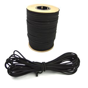 "1/8"" Black Bungee Cord Marine Grade Heavy Duty Shock Rope Tie Down Stretch Band"