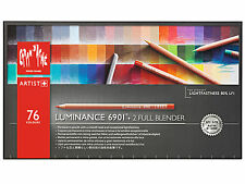 Caran D´ache Luminance 6901 Colour Pencils Box Of 76 + NEW With 2 Full Blenders