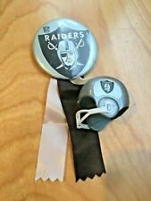 vintage Oakland Raiders pinback BUTTON w/ ribbons & gumball mini football helmet