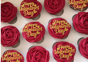 Happy Valentines Day Cupcake Toppers Love cake and cupid date