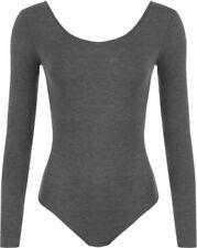 Maglie e camicie da donna grigia aderente con girocollo