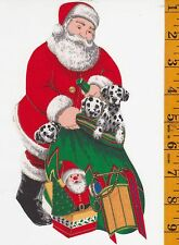 SANTA AND DALMATIONS~CHRISTMAS~IRON-ON FABRIC APPLQUE~NO SEWING REQUIRED