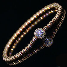 Mens 18k Gold Plated Diamond Ball Beaded Bracelets Clear Crystal on Rose Gold