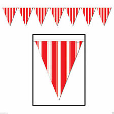 CIRCUS CARNIVAL Big Top RED & WHITE STRIPED Pennant FLAG BANNER Party Decoration