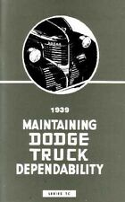 1939 Dodge Truck TC Series Owners Manual User Guide Operator Instruction Book