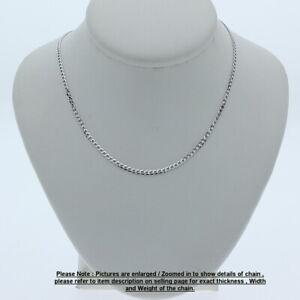 Genuine Brand new 9K Fine Italian White Gold Curb Chain Necklace Length 45-80cm