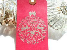 10 Red Tag   Silver Bauble Christmas Gift Tags  Handmade  Vintage Style