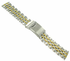 16-22mm Kreisler Stainless Silver Gold Tone Deployment Clasp Watch Band 801TL
