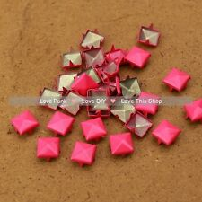 200pcs 9mm Rose Pink Pyramid Rivet Spike Punk Bag Belt Leathercraft Pyramid DIY