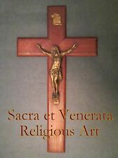 """16"""" Antique Altar Wall Hanging Brass Inlaid Wood Crucifix Cross FRANCE"""