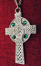 Celtic Cross Pendant Emerald Crystal St Patrick Irish Silver Pewter Necklace