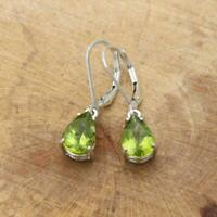 Natural Peridot Pear 10 x 7mm Large 925 Sterling Silver Lever Back Drop Earrings