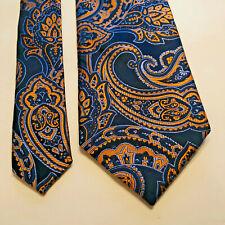 "The Tie Bar Men's Necktie Blue/Gold Paisley Tie 100% Silk W 3.5"" L 58"""