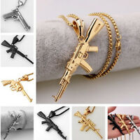 Multi-choose Gun Rifle Pendant Chain Stainless Steel Silver/Gold/Black Necklace