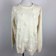 Rafaella M Medium Pullover Sweater Cream Embroidery Long Sleeve Angora Wool