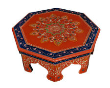 Wooden Pooja Chowki Hand Painted Low Height Footstool Side End Table Home Decor