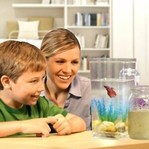 Self Cleaning My Fun Fish Tank Small Aquarium Desktop Kids Goldfish Bowl LED