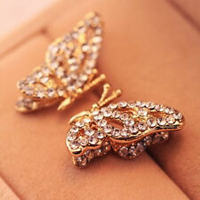 Elegant Women 1Pair Hollow Out Butterfly Rhinestone Ear Stud Earrings Jewelry