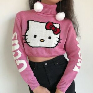 Cartoon Pink Hello Kitty Sweater - Woman Pullover with Turtleneck
