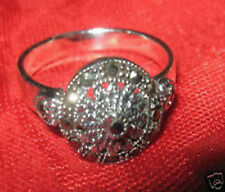 SALE VINTAGE ANTIQUE 925 STERLING SILVER 12mm ROUND MARCASITE RING SIZE 5 ONLY
