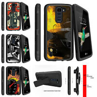For LG K8   Escape 3   Phoenix 2 Holster Clip Stand Case Speedometer Flames