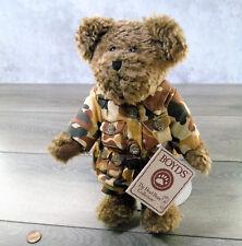 """NEW Boyds Bears USA MILITARY TEDDY BEAR McBruin 10"""" Plush Camo Fatigue Clothes!"""