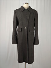 Rene Lezard Women's 40 Wool Angora Gray Striped Button Front Coat